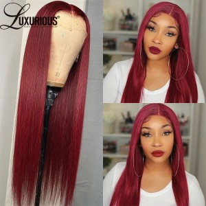 Burgundy 99j 13x4 Lace Front Wig 100% Human Hair Wigs For Women Straight Brazilian Remy Hair  Pre Plucked Full Density