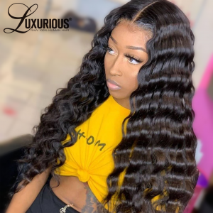 Deep Wave Full Lace  Wigs 30 inched Human Hair Wigs Brazilian Glueless Bleached Knots Pre Plucked For Black Women