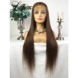 Luxurious Super Popular Human Hair  Silky Straight Free Part #4 Color 150% Density Wigs Full Lace Wigs Sale Now