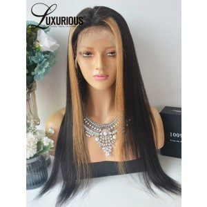 Luxurious Top Quality Glueless Lace Front  Wigs With Silk Top Black And Blonde Straight Wigs Shopping On Sale