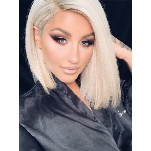 Luxurious 613 Color Blonde Lace Front Human Hair Wigs Pre Plucked Middle Part Bleached Knots Bob Human Hair Wigs