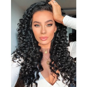 Luxurious 10A Grade Brazilian Remy Hair Deep Wave 360 Lace Frontal Wigs With Bleached Knots Pre Plucked Hairline Natural Black