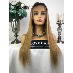 Luxurious Super Popular Human Hair Silky Straight Middle Part Hair Line 1B Root Omber Pic Color  Lace Front Wigs Sale Now