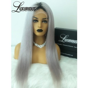 Luxurious  Factory New Style Brazilian Virgin Hair Wigs High Mysterious Cold Grey Glueless Lace Front Wigs With Baby Hair