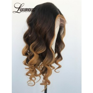 Luxurious Supply Best Two Tone Brown Mix Gold Order Human Hair Wigs Online Wig 150% Density Hair Wigs Supplier