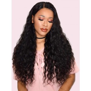 250 Density Water Wave Lace Front Human Hair Wigs For Women Black Color 13X4 Brazilian Lace Front Wig