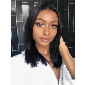 Luxurious 150% Density Short Bob 360 Lace Frontal Wigs Human Hair Straight Brazilian Remy Natural Black Lace Wigs Pre Plucked Bleached Knots For Women