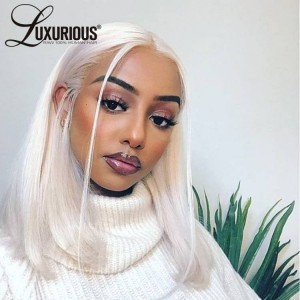 #60 Ombre Icy Blonde Short Hair Bob Wig T Part Wig HD Transparent Lace Front Wig For Women Remy Hair Brazilian Pre Plucked