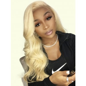 Luxurious 360 Lace Frontal Closure Brazilian Remy Human Hair Blonde 613 Frontal Body Wave Hair Closure With Baby Hair Free Part