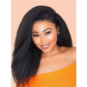 Luxurious Hair Human Hair 13*4 Lace Closure With Bundles Brazilian Kinky Straight Hair Weaves Bundles Virgin Yaki Hair