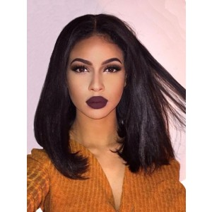Luxurious 250% Density Thick Short Bob 360 Lace Frontal Wigs Human Hair Straight Brazilian Remy Natural Black Lace Wigs Pre Plucked Bleached Knots For Women