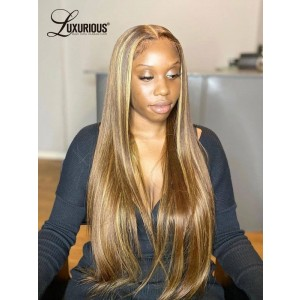 Highlight Wig Human Hair Lace Wigs Ombre Straight 28 30 Inch Lace Frontal Wig Honey Blonde Full Density Thick Lace Front Human Hair Wigs For Women