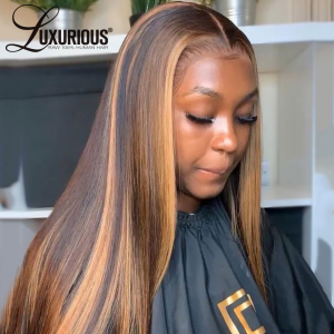 Hightlight 360 Straight Lace Frontal Wig Pre Plucked 30 Inch Honey Blonde Lace Front Wigs 10A 360 Lace Closure Human Hair Wigs