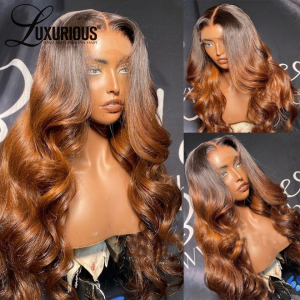 1B30 Highlight 360 Lace Front Human Hair Wigs With Baby Hair Brown Body Wave 26inch Lace Wigs For Women Human Hair
