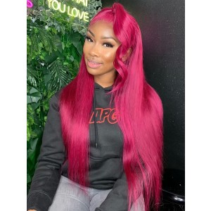Luxurious Hair 10A Grade 99j  Color Straight Lace Front Human Hair Wigs With Baby Hair 150%Density