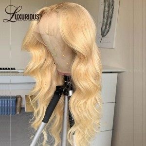 613 Human Hair Honey Blonde Colored T Part Lace Front Wig Brazilian BodyWave Pre Plucked Remy 13x4 Lace Frontal Wig