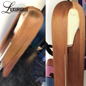 Ginger Blonde Burgundy Straight Colored HD 360 Lace Wig For Black Women Full Density Pre Plucked With Baby Hair Peruvian Remy