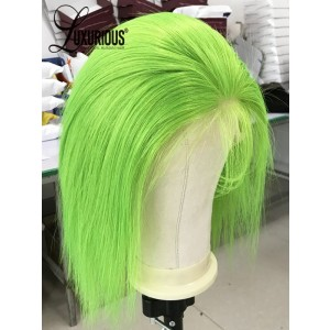 Luxurious Top News Short Neon Green Bob Lace Front Hair Cut Wigs With Baby Hair On Sale