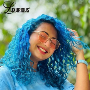 Light Blue Colored Curly Lace Front Wig T Part Wig Human Hair Wigs For Women Pre Plucked With Baby Hair Remy