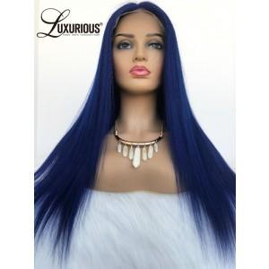 Luxurious Top Selling Brazilian Long Straight Soft Wigs150% density  Dark Blue Wig The Best Human Hair Wigs