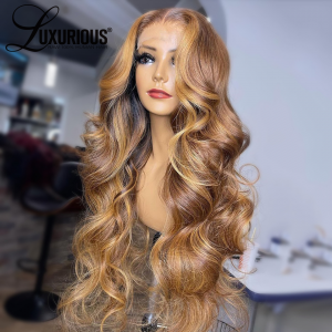 Luxurious Honey Blonde Body Wave Lace Front Wigs Pre-Plucked 360 Lace Frontal Wigs Highlight Wigs Human Hair Wigs For Women