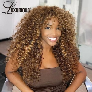 4/27 Highlight Curly Lace Front  Wig T Part Wig Curly Human Hair Wig For Women Pre Plucked With Baby Hair Brazilian Remy