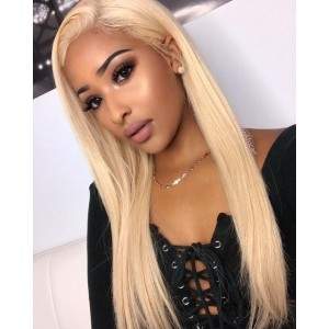 Luxurious Straight 360 Lace Frontal Closure Color 613 Brazilian Remy Hair Pre Plucked With Colorful Hair