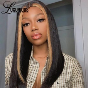 Highlight 360 Lace Wigs Straight Human Hair Wigs For Black Women Full Density Glueless Peruvian  Remy Hair Pre Plucked With Baby Hair