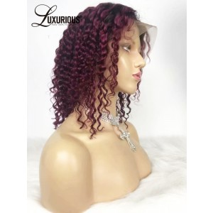 Luxurious Burgundy Buy Human Hair Wigs Online Cheap Wavy Human Full Lace Wigs Short Hair Call You Baby
