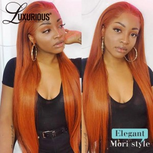 Ginger Orange13x4 Lace Front Wig 100% Human Hair  Colored Straight Brazilian Remy Hair Medium Brown Lace Wig For Women Pre Plucked Full Density