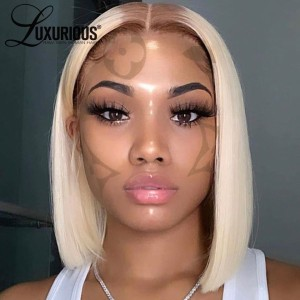 #4/613 Honey Blonde Bob Wig Straight Lace Wig Peruvian Human Hair Lace Front Human Hair Wigs With Transparent Lace Pre Plucked