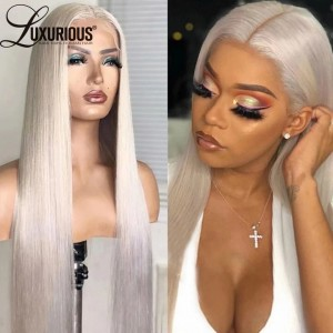 #60 Platinum Blonde 13x4 HD  Transparent Lace Frontal Wig Straight Pre Plucked Remy 100% Human Hair Wig For Women