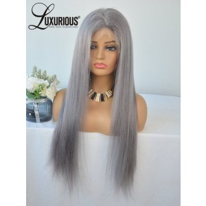 Luxurious  New Style Silky Straight Long Brazilian Celebrity Lace Front Wigs Steel Grey Good Wig For Natural Hair