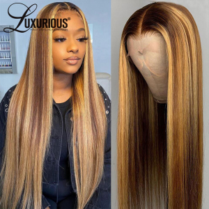 Highlight Wig Human Hair13×4 Lace Front Wig Ombre Straight Highlight Brown Wig 13x4x1 Lace Front Human Hair Wig