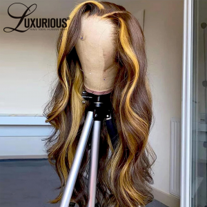 Lace Front Wigs Human Hair Pre Plucked 150% Density Highlight 4/27 Blonde Human Hair Wigs for Black Women Body Wave Human Hair Lace Front Wigs