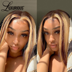 Straight Bob Wig 13X4 Lace Front Wigs For Black Women Highlight Wigs Remy Hair Brazilian Colored Short Bob Ombre Human Hair Wigs