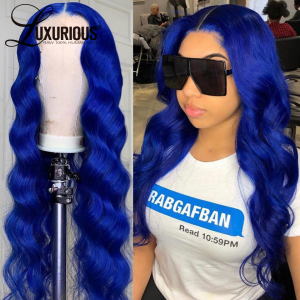 Blue Ombre Lace Front Wigs 180 Density Body Wave Colored Human Hair Wigs For Peruvian Remy Wig  Part Lace Wig