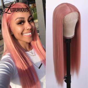Straight Hair Pink Color Lace Wigs Glueless Heat Resistant Human Hair HD Lace Front Wigs for Fashion Women