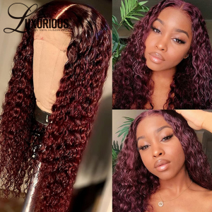 Peruvian Human Hair Colored Red Deep Wave 360 Lace Frontal Wigs 32 Inch 99j Burgundy Curly Human Hair Wigs For Black Women