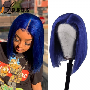 Ombre Blue Bob Lace Wigs Pre Plucked Natural Straight Human Hair Wig for Black Women 150% Density Lace Front Wigs