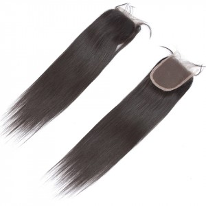 """Straight 4""""x4"""" Lace Closure 100% Peruvian Remy Hair Bleached Knots Human Hair Closure Pre Plucked Natural Hairline"""